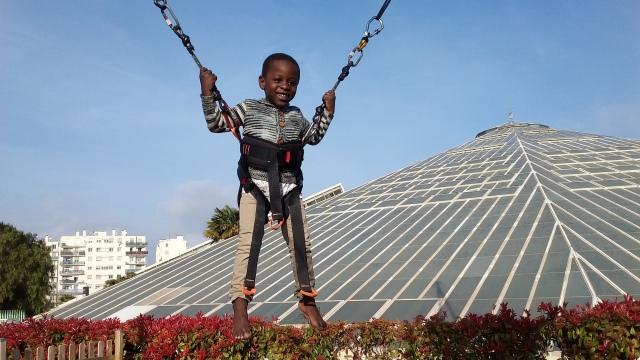 Jeremy on a trampoline at Parc Phoenix