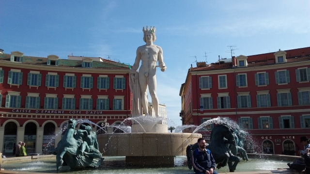 Europe is obsessed with naked statues, no? Statue in the middle of Nice Old Town