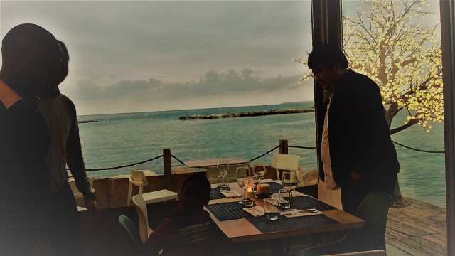 Sitting down for dinner by the seaside