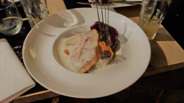 I had the swordfish in radish puree as the main. Delicious.