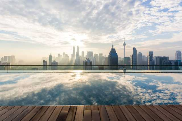 The infinity pool at the apartment in Kuala Lumpur