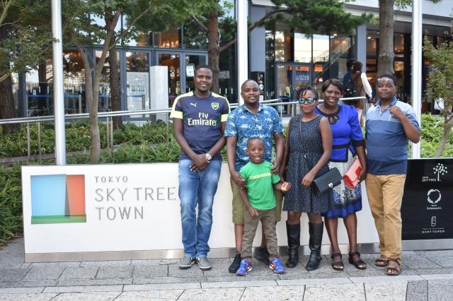 Family photo outside Tokyo Skytree