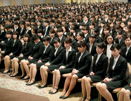 New employees at a company entrance ceremony in Tokyo. Image from the internet.