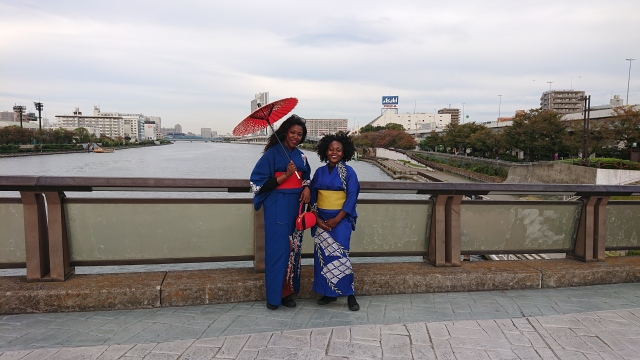 Strolling along Sumida River in our kimonos